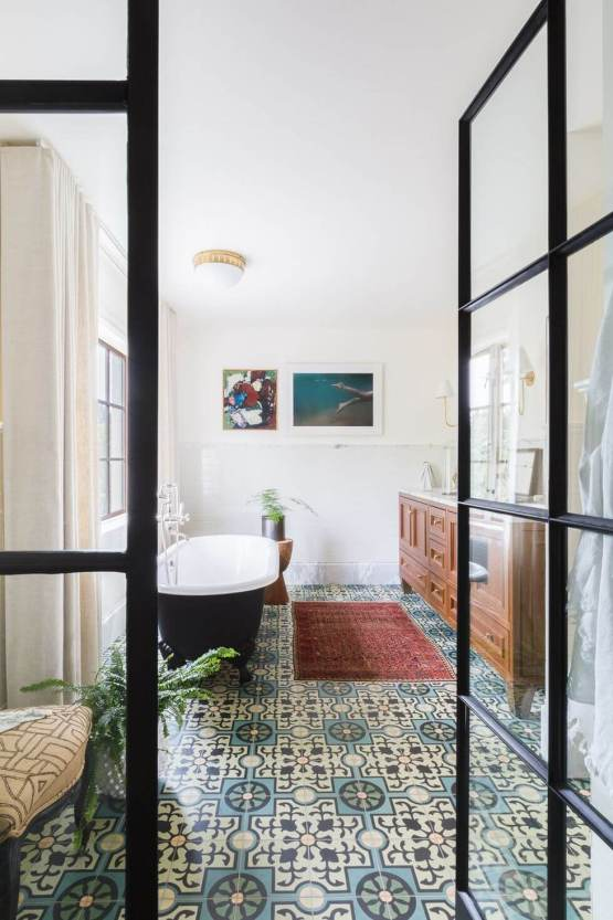 Colorful bathroom floor tiles #bathroomtileideas #bathroomtileremodel