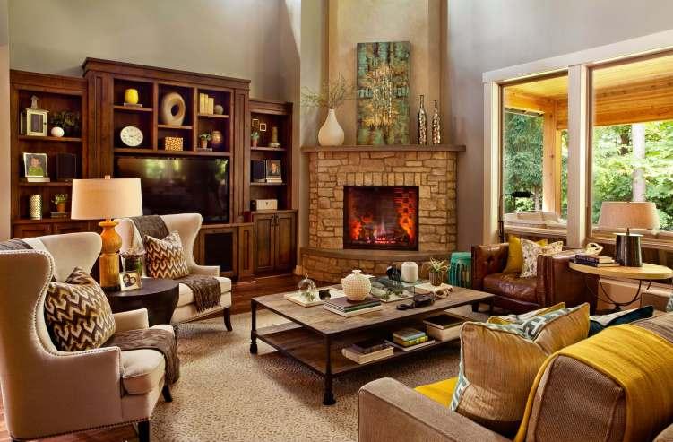 Fantastic corner fireplace decorating ideas for your home #cornerfireplaceideas #livingroomfireplace #cornerfireplace