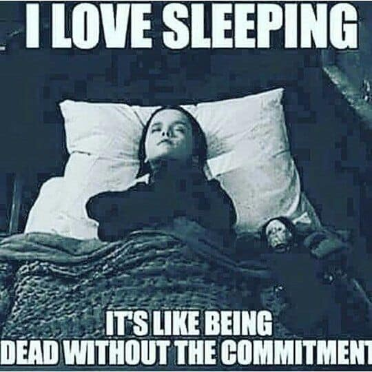 I love sleeping. it's like being dead without the commitment