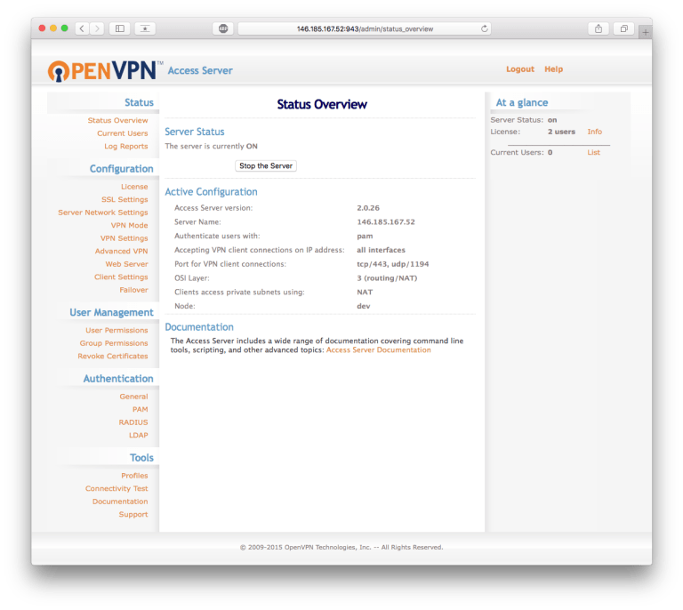 VPN openvpn-as admin
