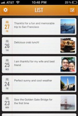 Gratitude journal app for the iPhone