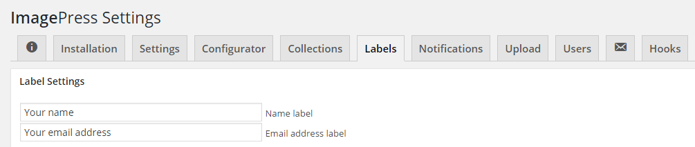 ImagePress label - name and email address