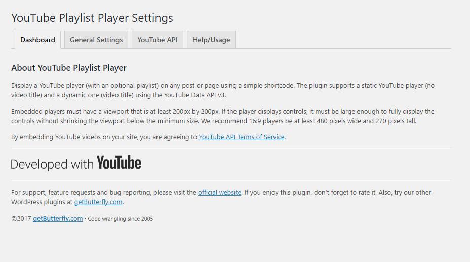 YouTube Playlist Player - Dashboard
