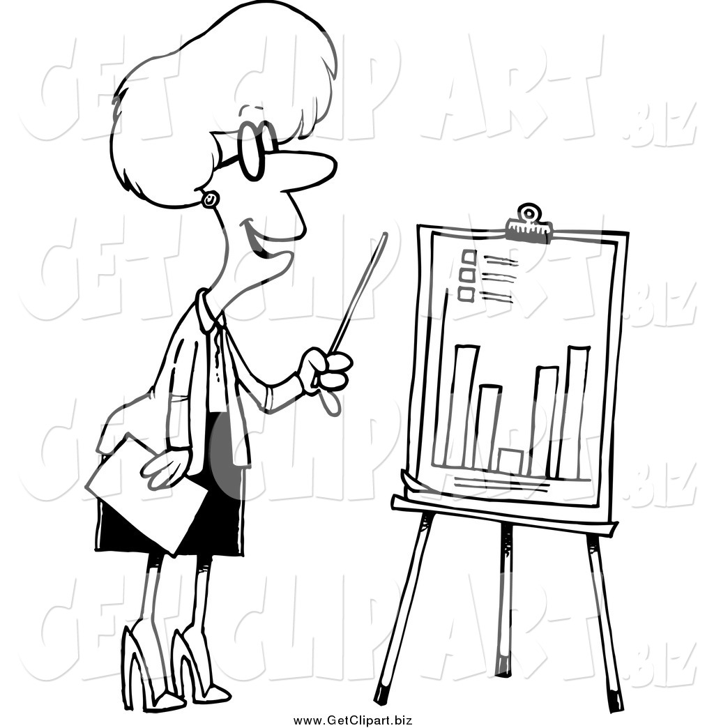 Clip Art Of A Black And White Businesswoman Presenting A Bar Graph By Toonaday