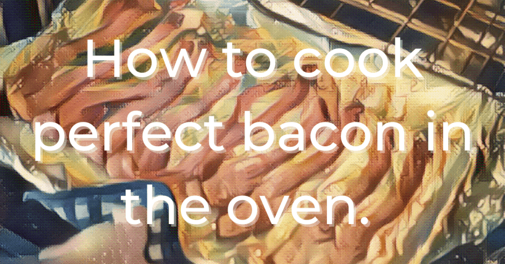stylized image of bacon in the oven on cookie sheet