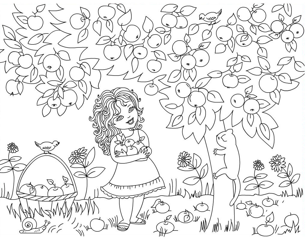 Apple Picking Coloring Pages At Getcolorings