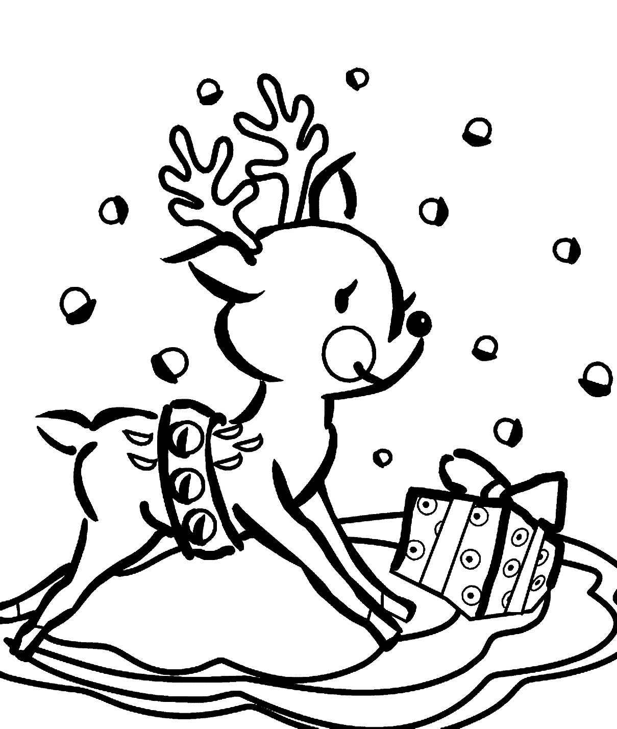 Coloring Pages For Christmas Reindeer At Getcolorings