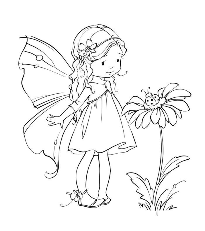 Cute Fairy Coloring Pages Printable Novocom Top
