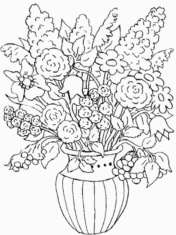 Flower Vase Coloring Pages at GetColorings.com | Free ... | colouring pages flowers in a vase