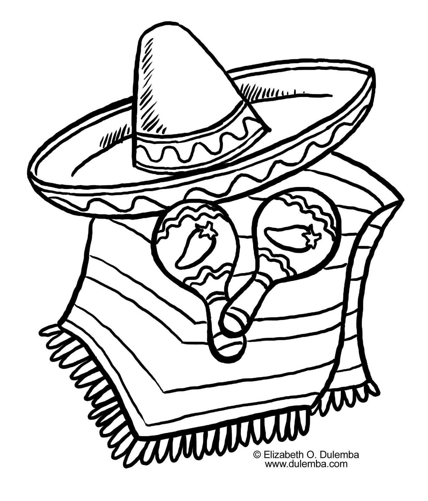 Mexican Hat Coloring Page At Getcolorings