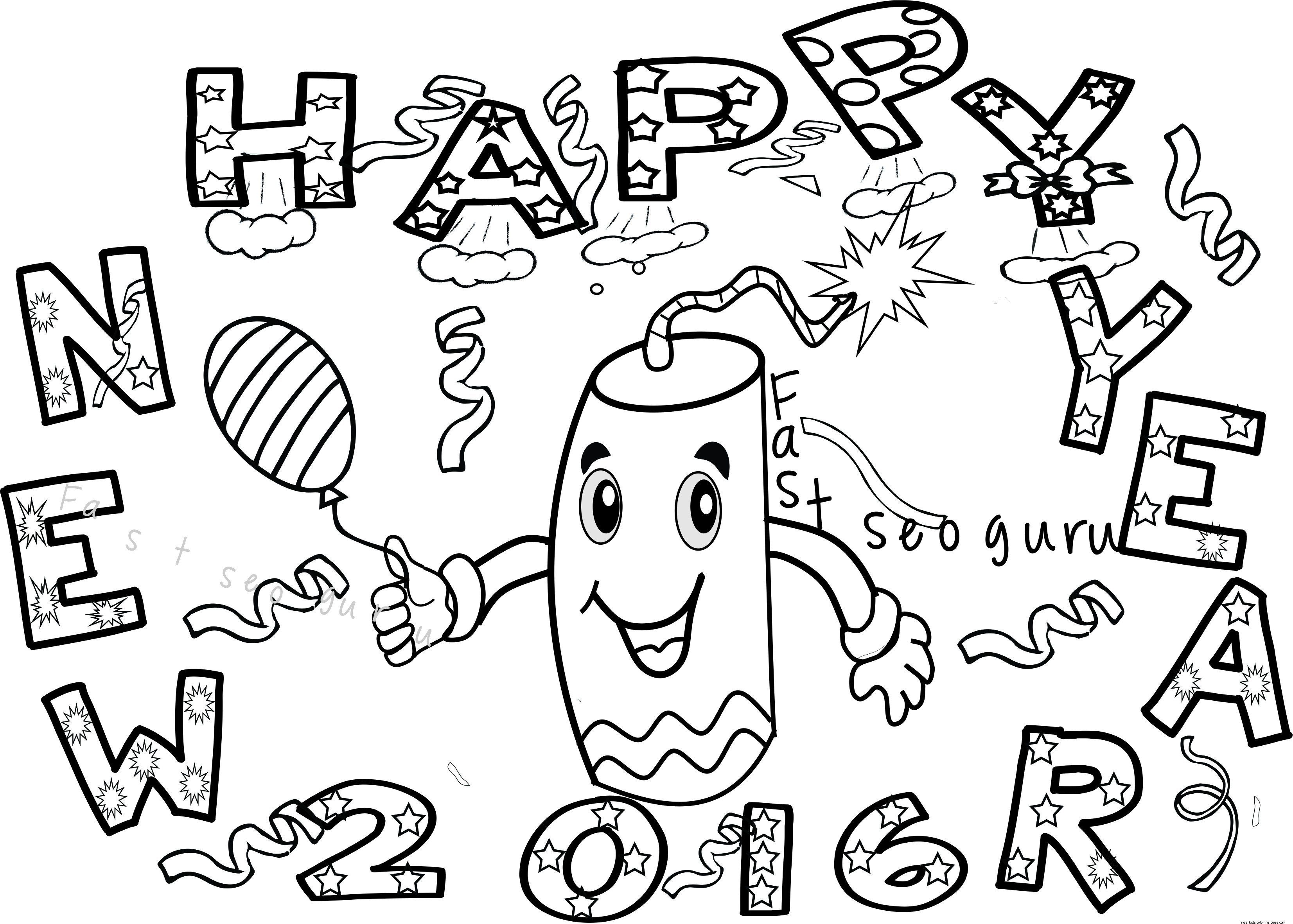 New Years Eve Coloring Pages Printable At Getcolorings