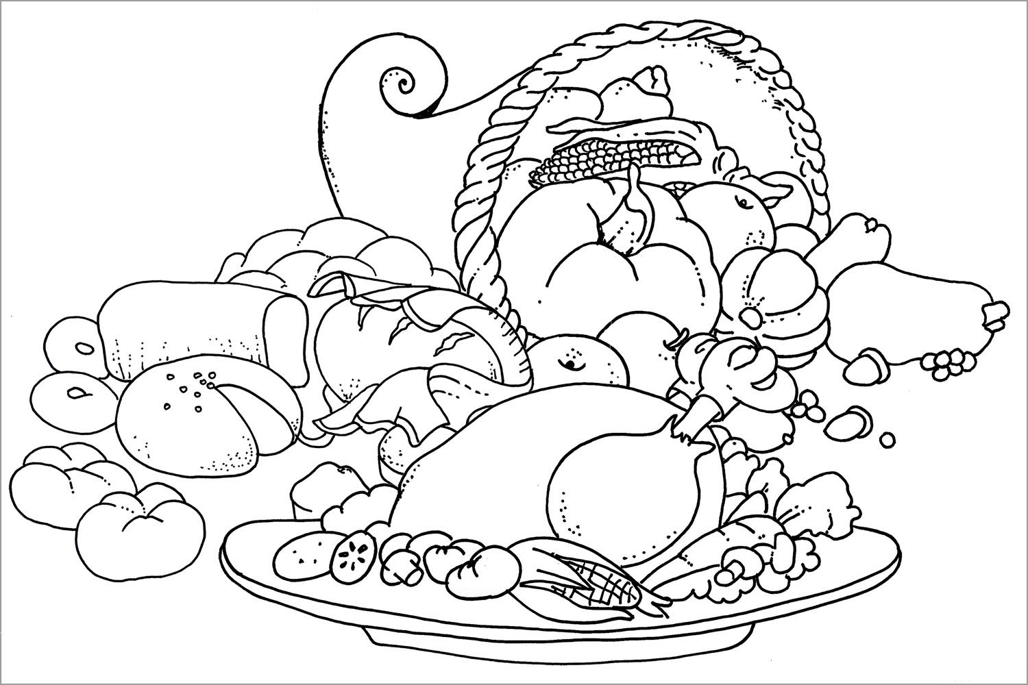 Turkey Dinner Coloring Page At Getcolorings