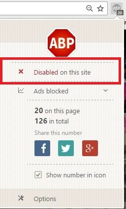 AdBlock Plus Disabled