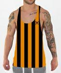 gold stripes stringer vest front model view