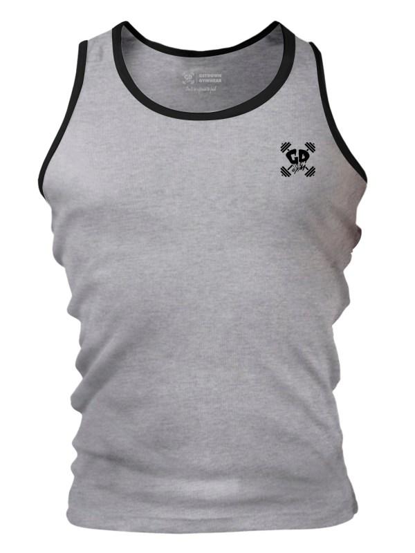 Get Down Logo Fitted Tank Vest Grey/Black Ringer