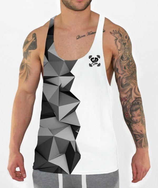 half grey geometric stringer vest front model view