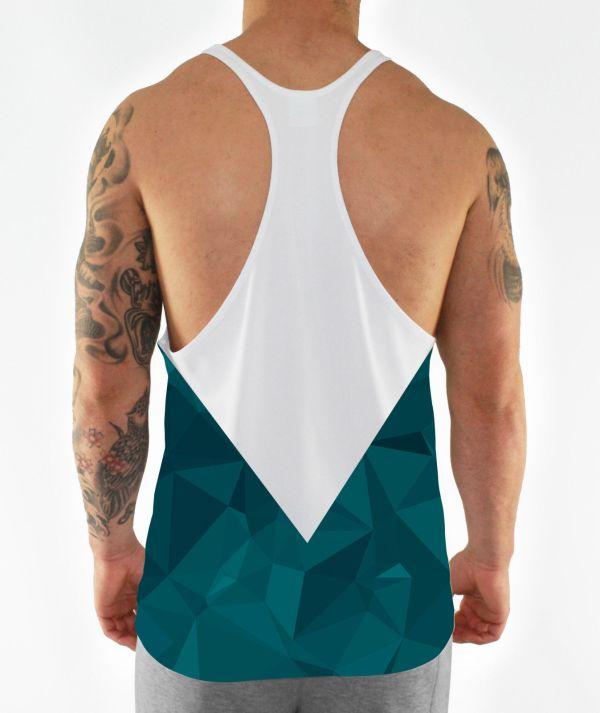 teal geometric aesthetic stringer vest back model view