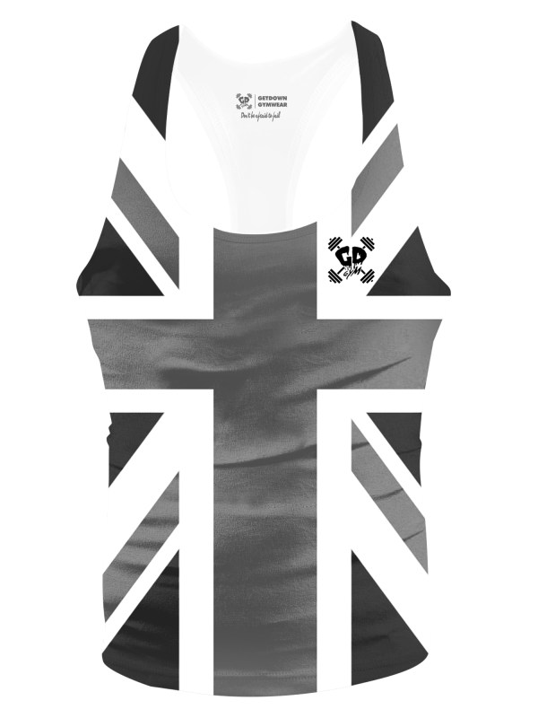 Black and White Union Jack Flag Stringer Vest
