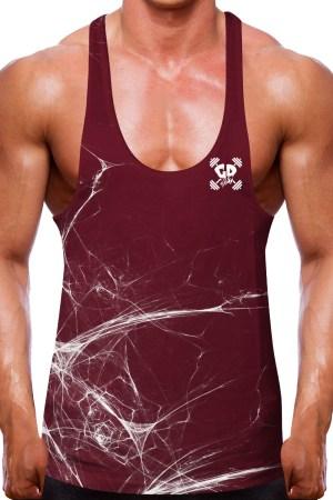 Shredded Burgundy Stringer Vest