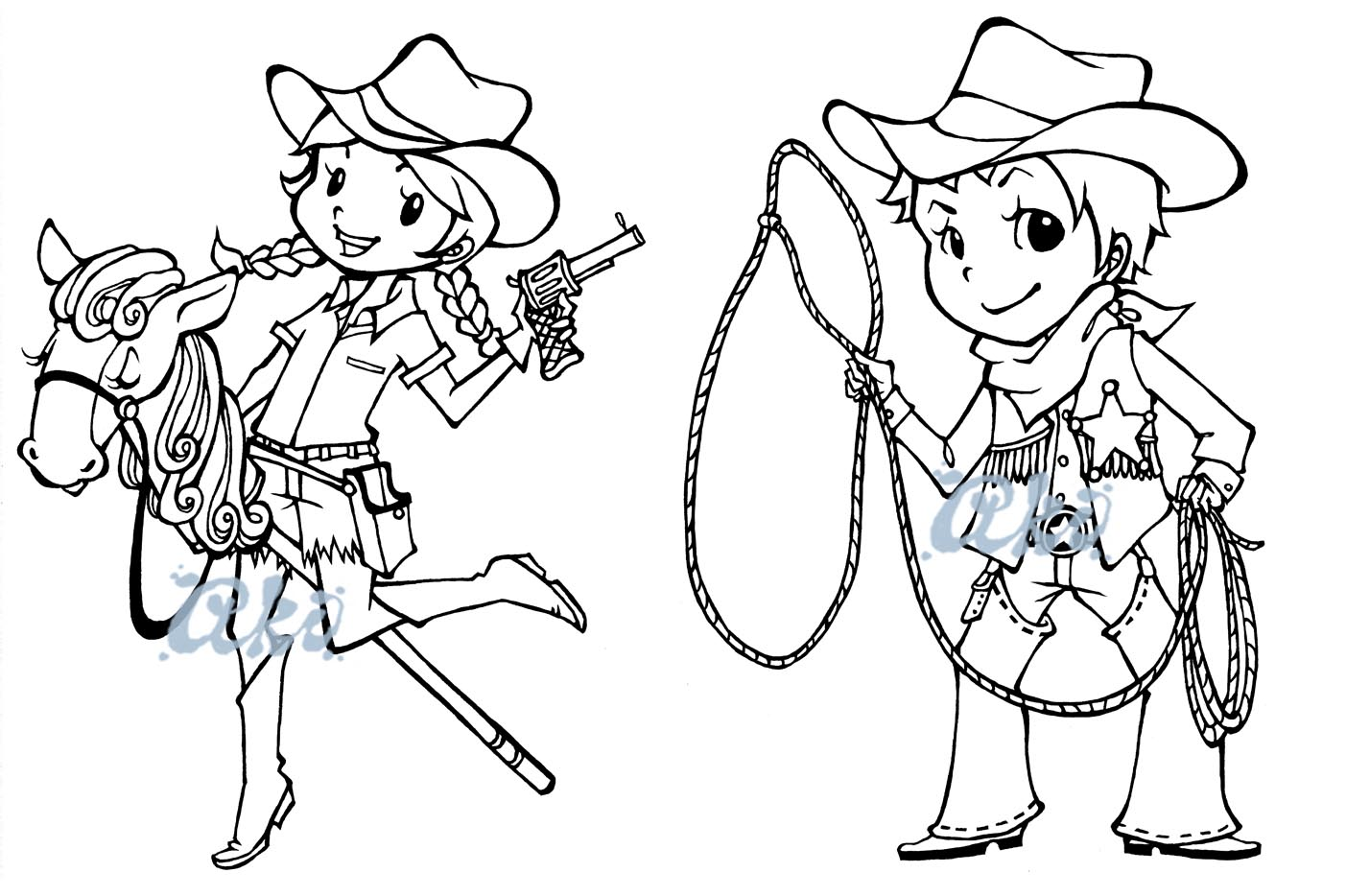 Cowboy Cowgirl Coloring Pages At Getdrawings