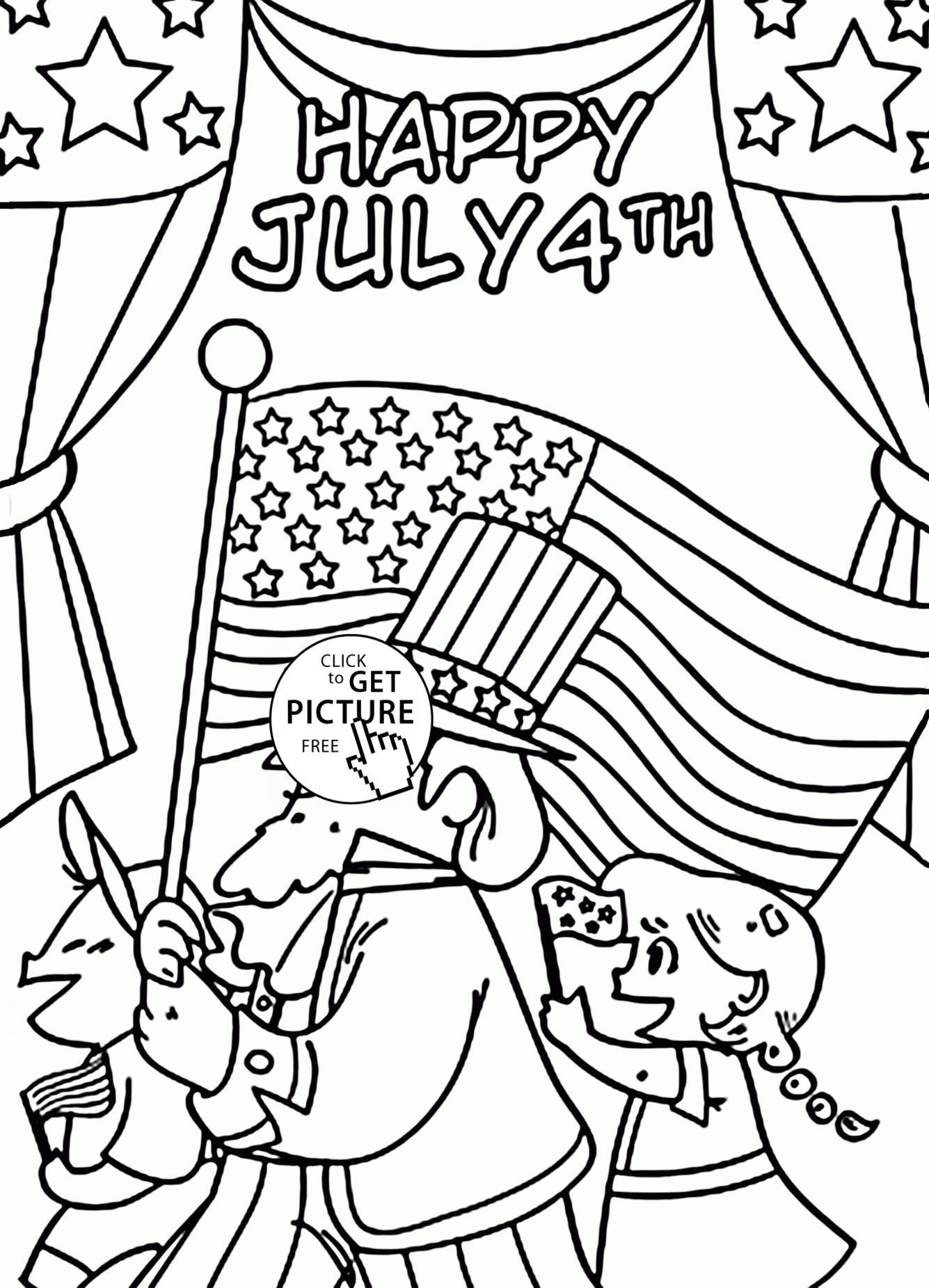 4th Of July Coloring Pages Free Printable Worksheet