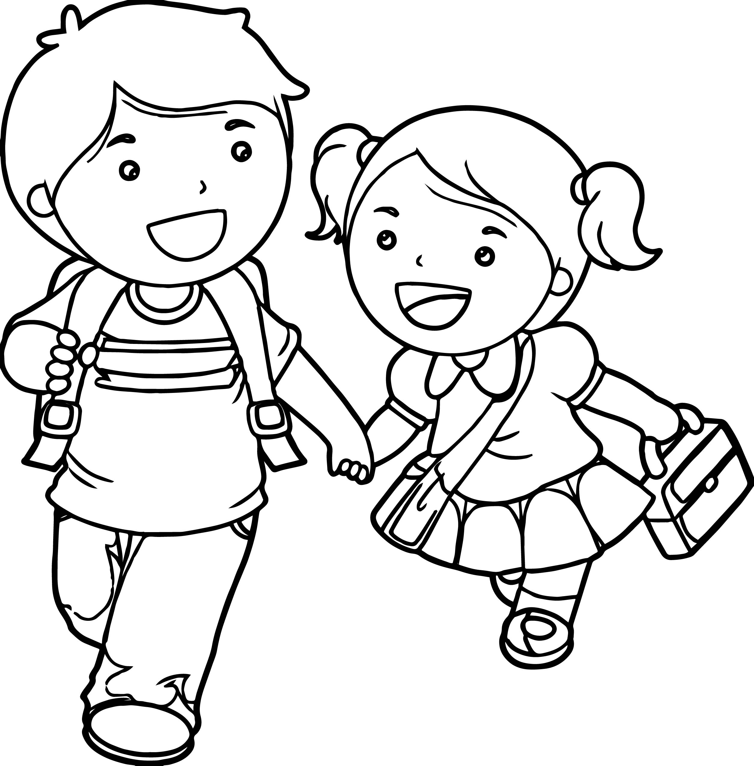 Little Boy And Girl Coloring Pages At Getdrawings