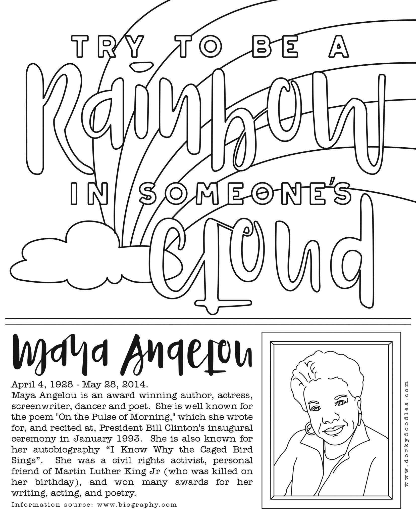 Maya Angelou Coloring Page At Getdrawings