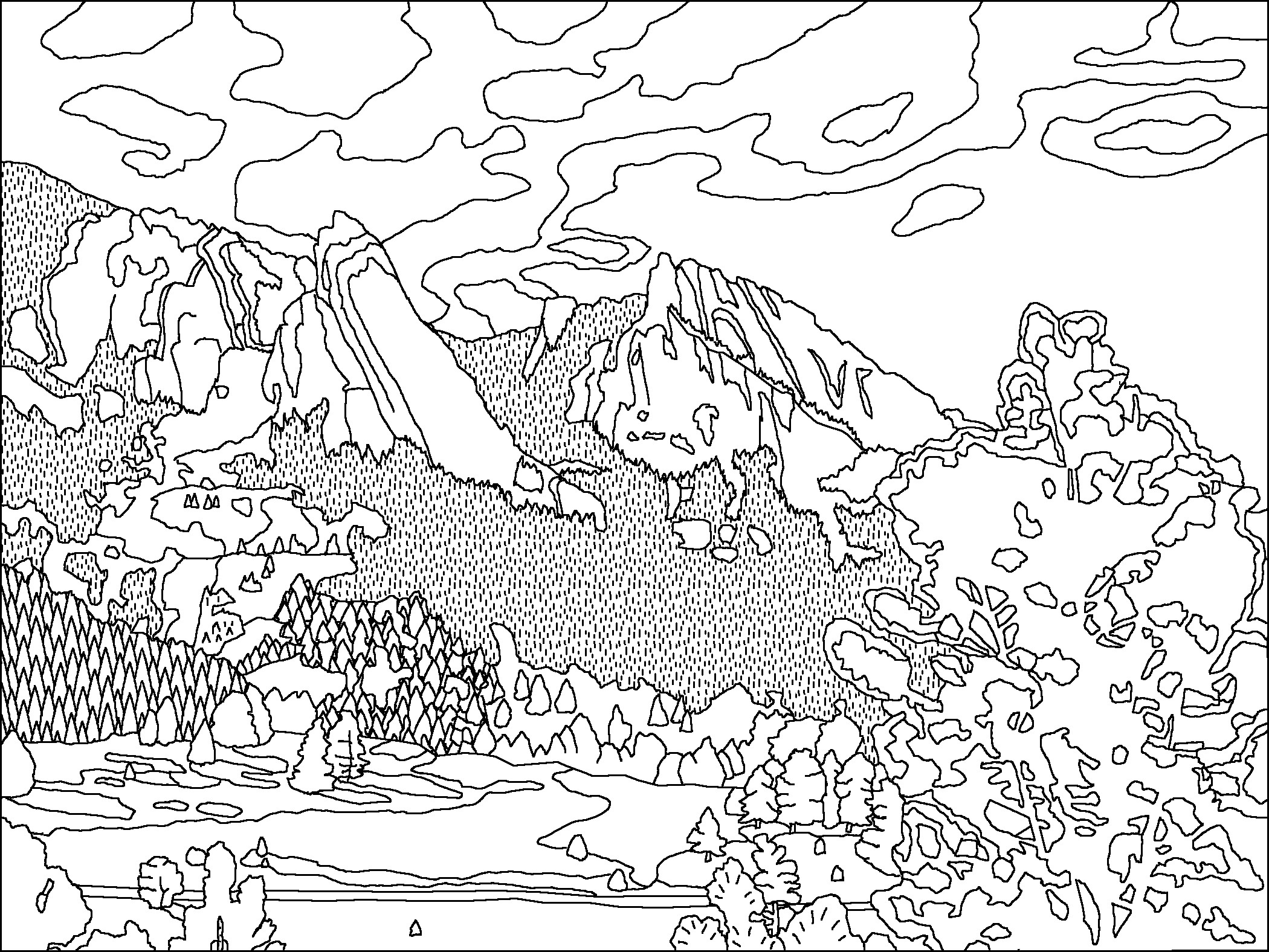 Mountain Range Coloring Pages At Getdrawings