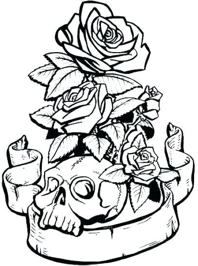 skull  roses coloring pages at getdrawings  free download