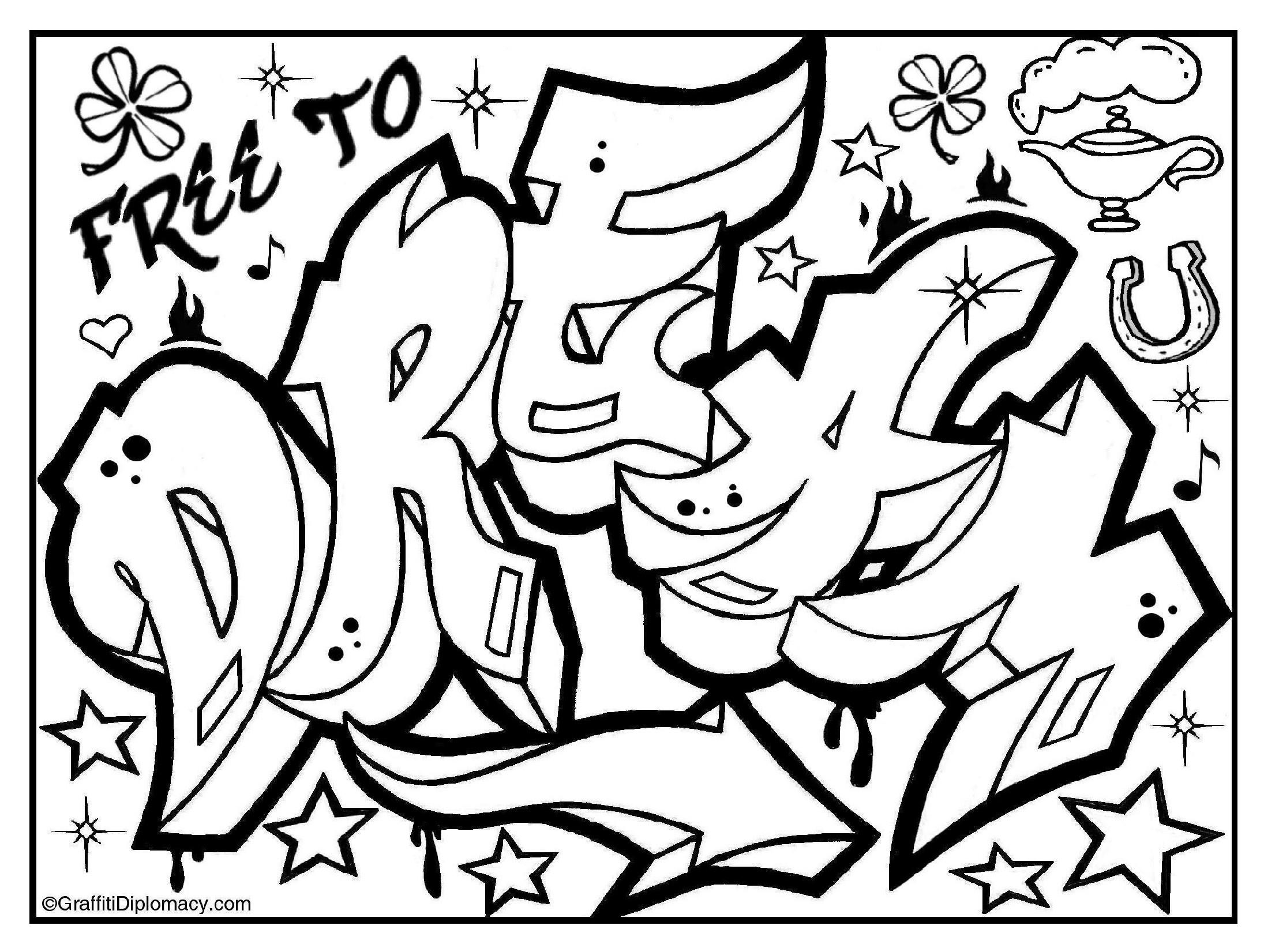 Swag Graffiti Coloring Pages At Getdrawings