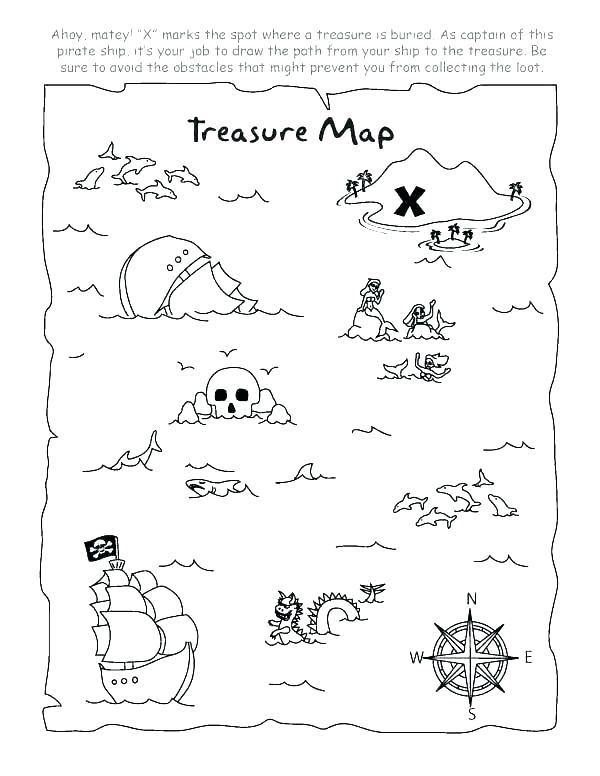 treasure map coloring page at getdrawings  free download