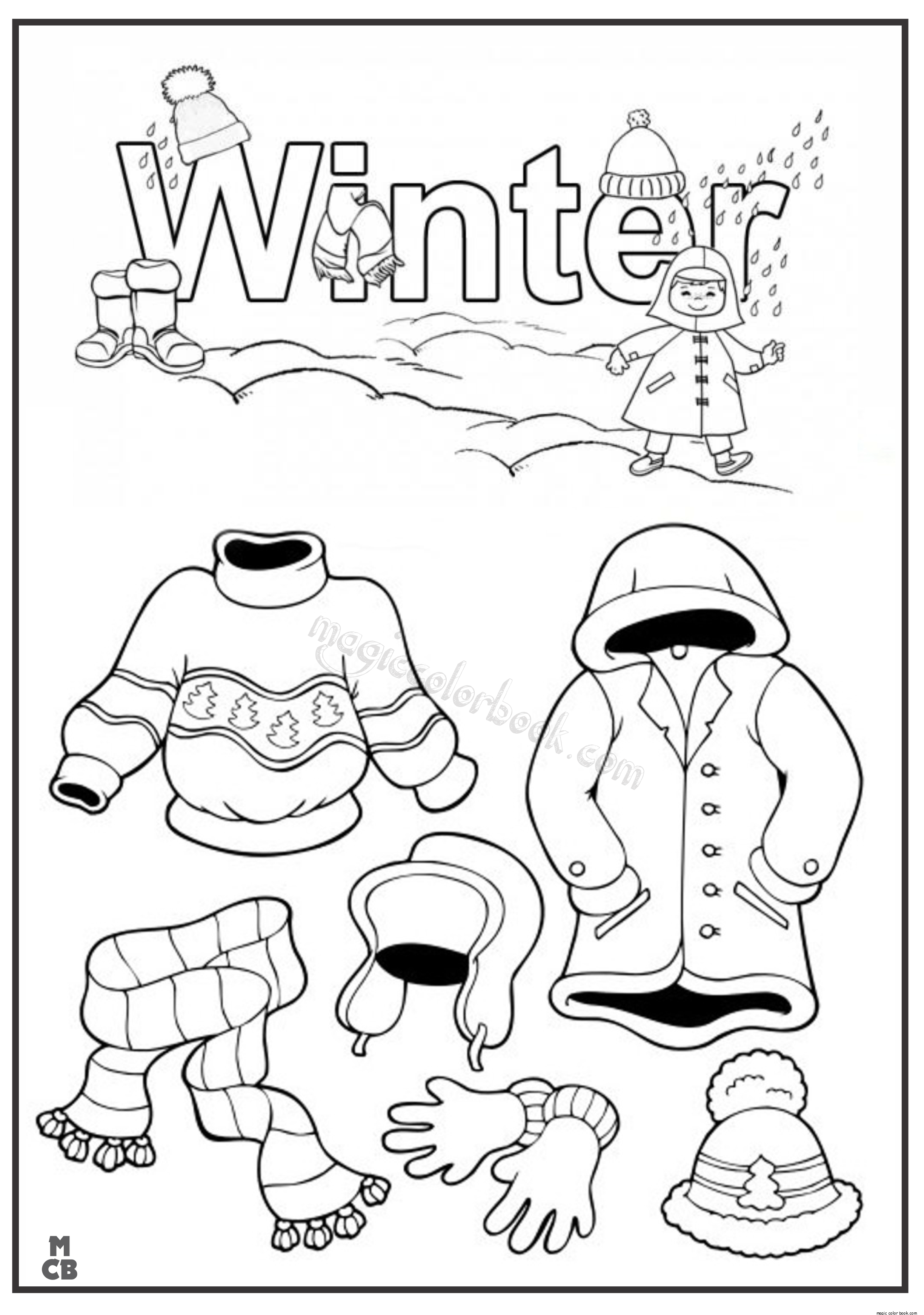 Winter Clothes Coloring Pages At Getdrawings