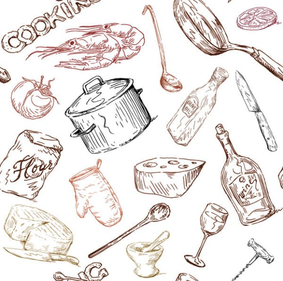600x597 Line Drawing Of Food And Kitchen Utensils Vector Free Vector 4vector