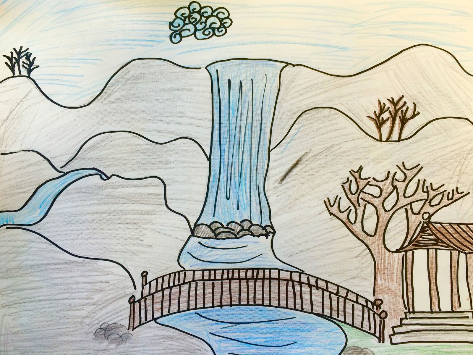 Dumielauxepices Waterfall Easy Scenery Color Pencil Www