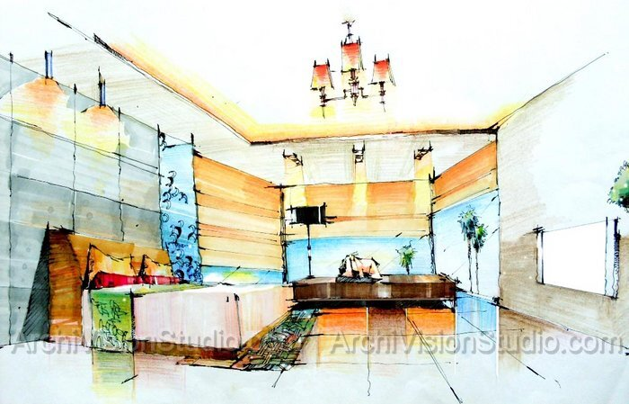 Interiors Drawing at GetDrawings com   Free for personal use     700x449 Beautiful Interior Design Drawings Perspective Pictures