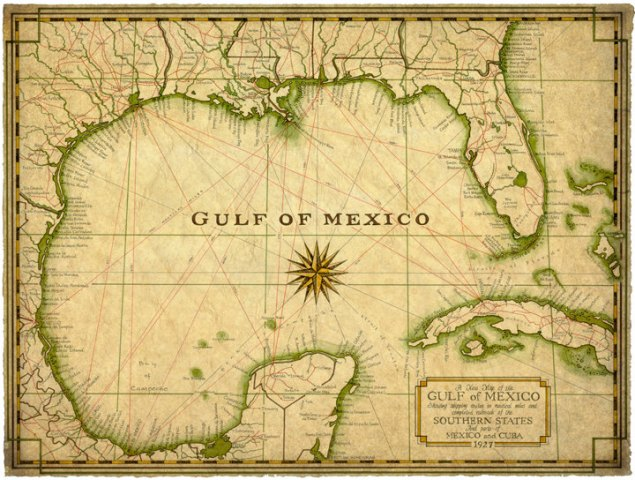 Mexico Map Drawing at GetDrawings com   Free for personal use Mexico     720x544 Gulf of Mexico Map Art c 1927 14 x 19 Map Old