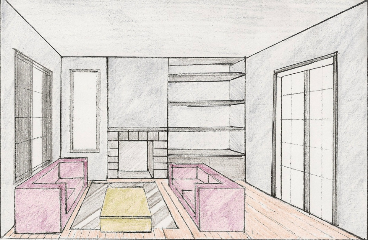 Step By One Point Perspective Room