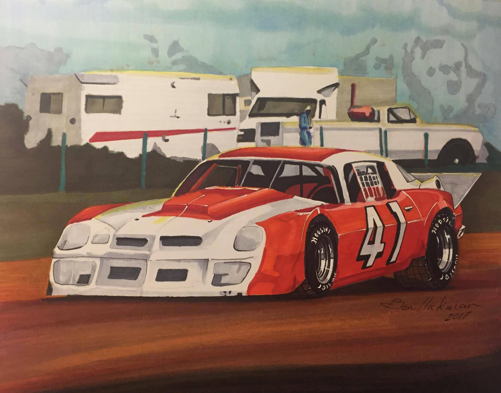 Late Model Dirt Track Car Pencil Drawing