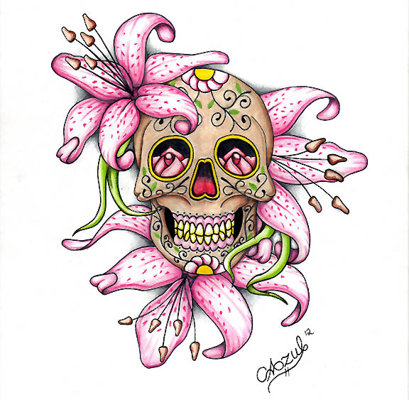how to draw a sugar skull rose