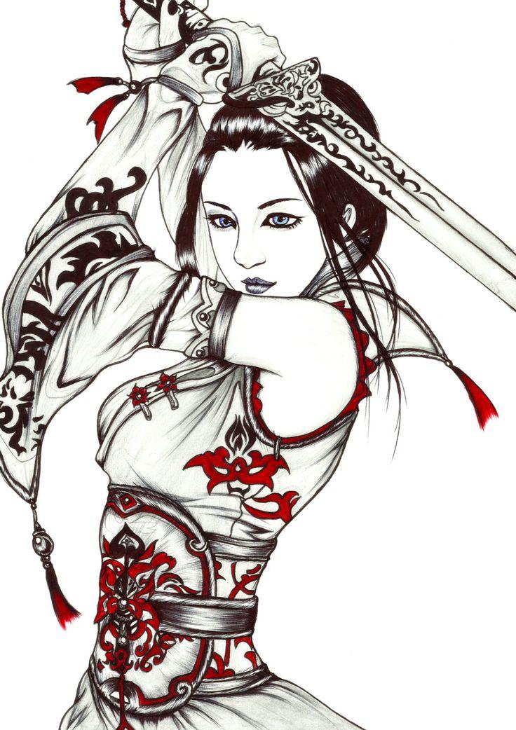 warrior girl drawing at getdrawings  free download