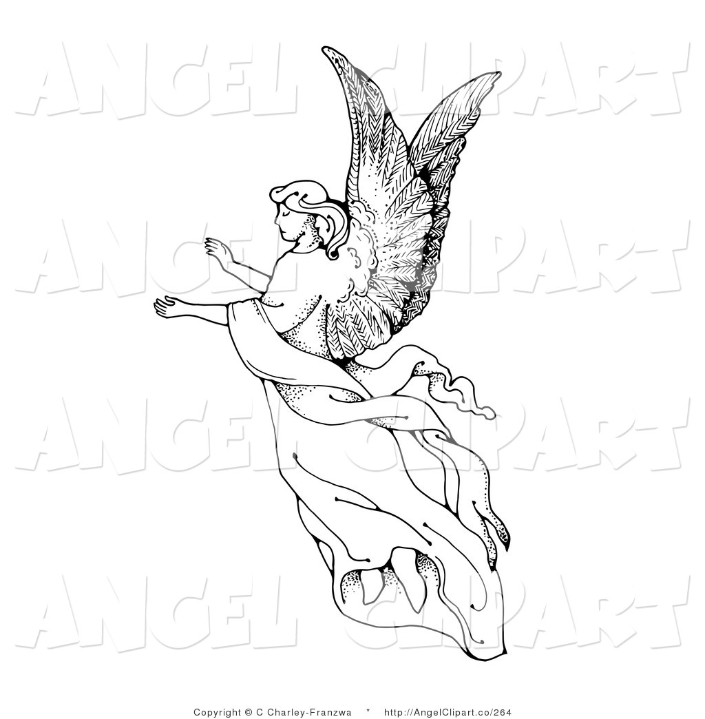 Angel Black And White Drawing At Getdrawings