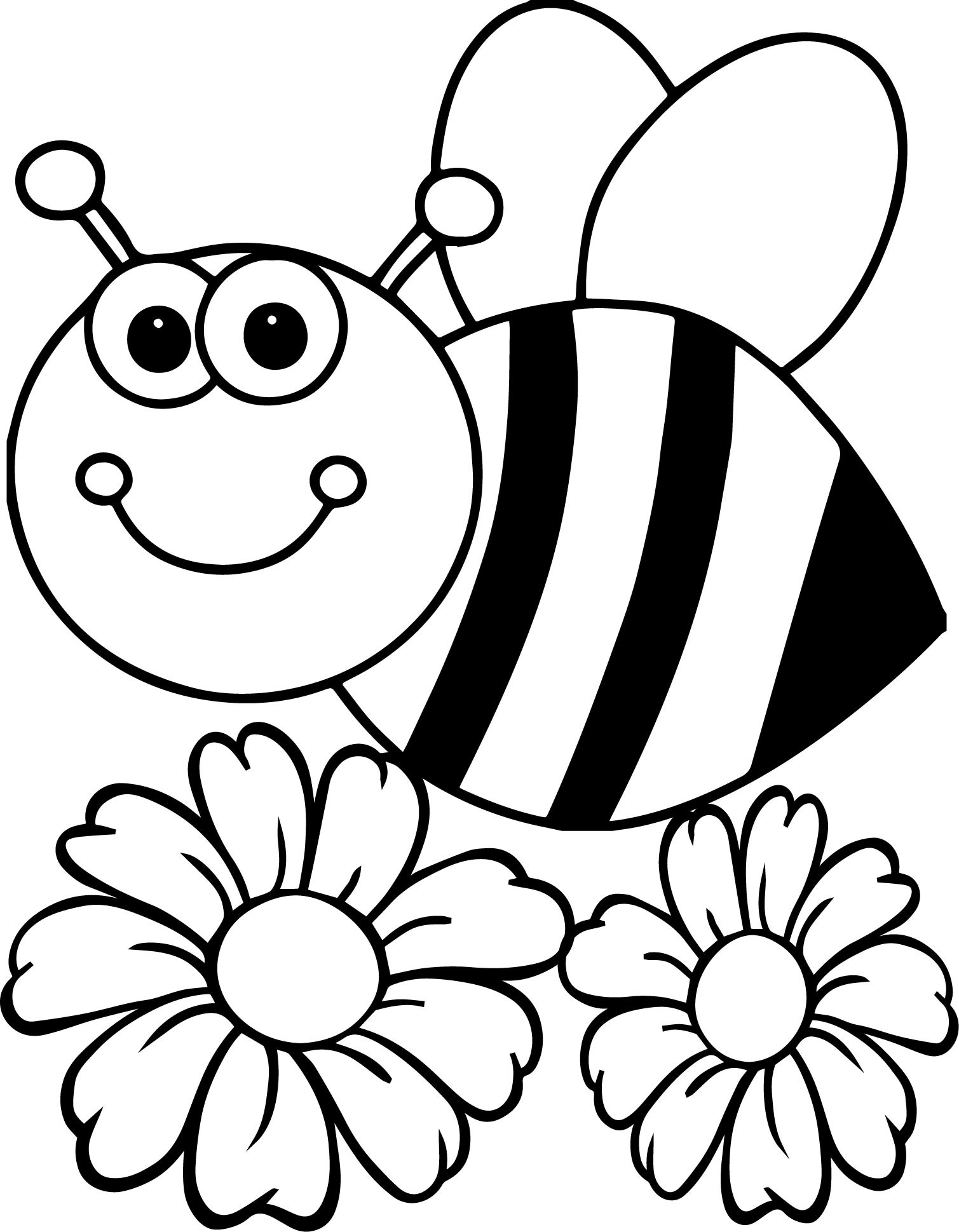 Bee And Flower Drawing At Getdrawings