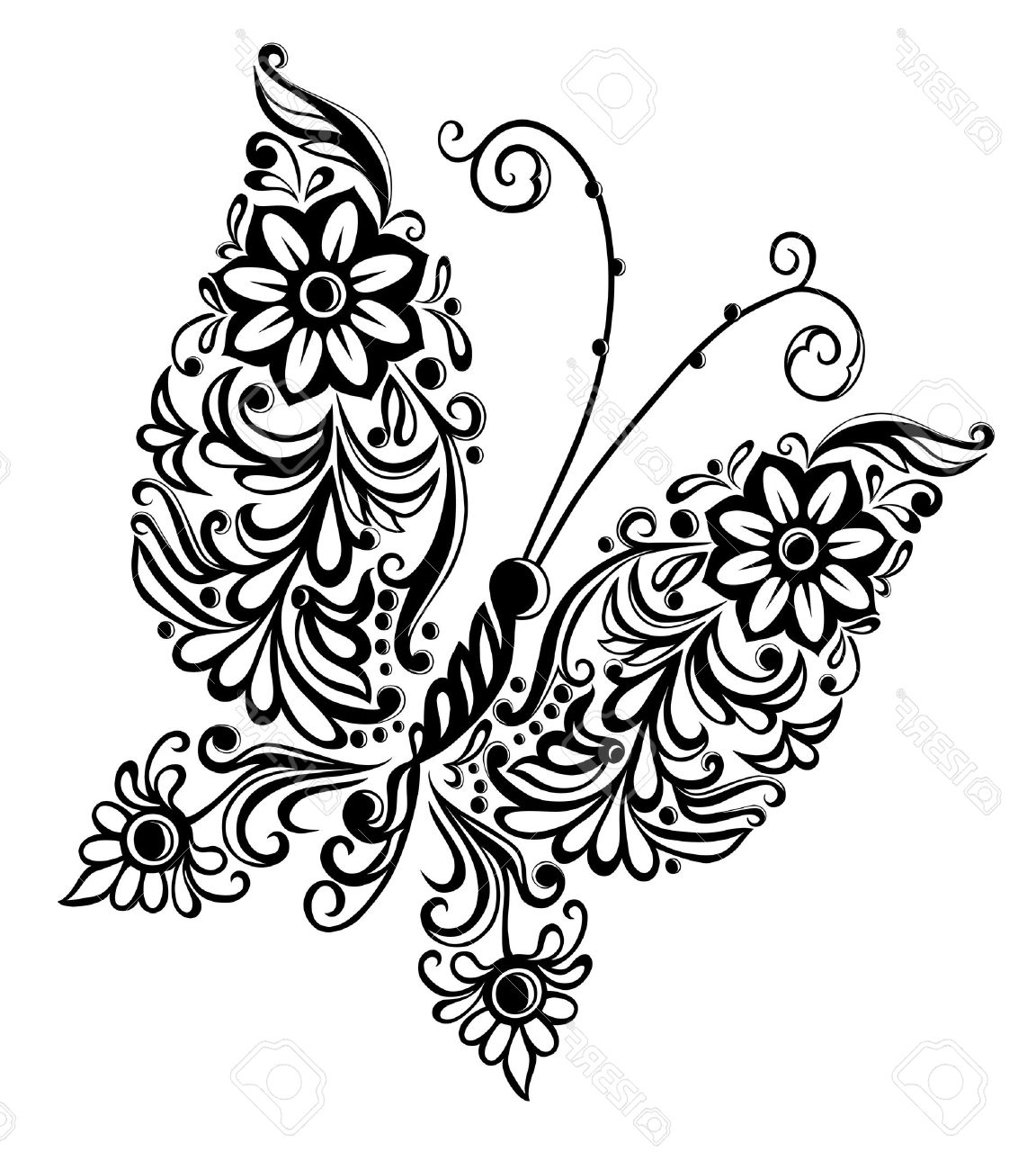 Butterfly Drawing Black And White At Getdrawings