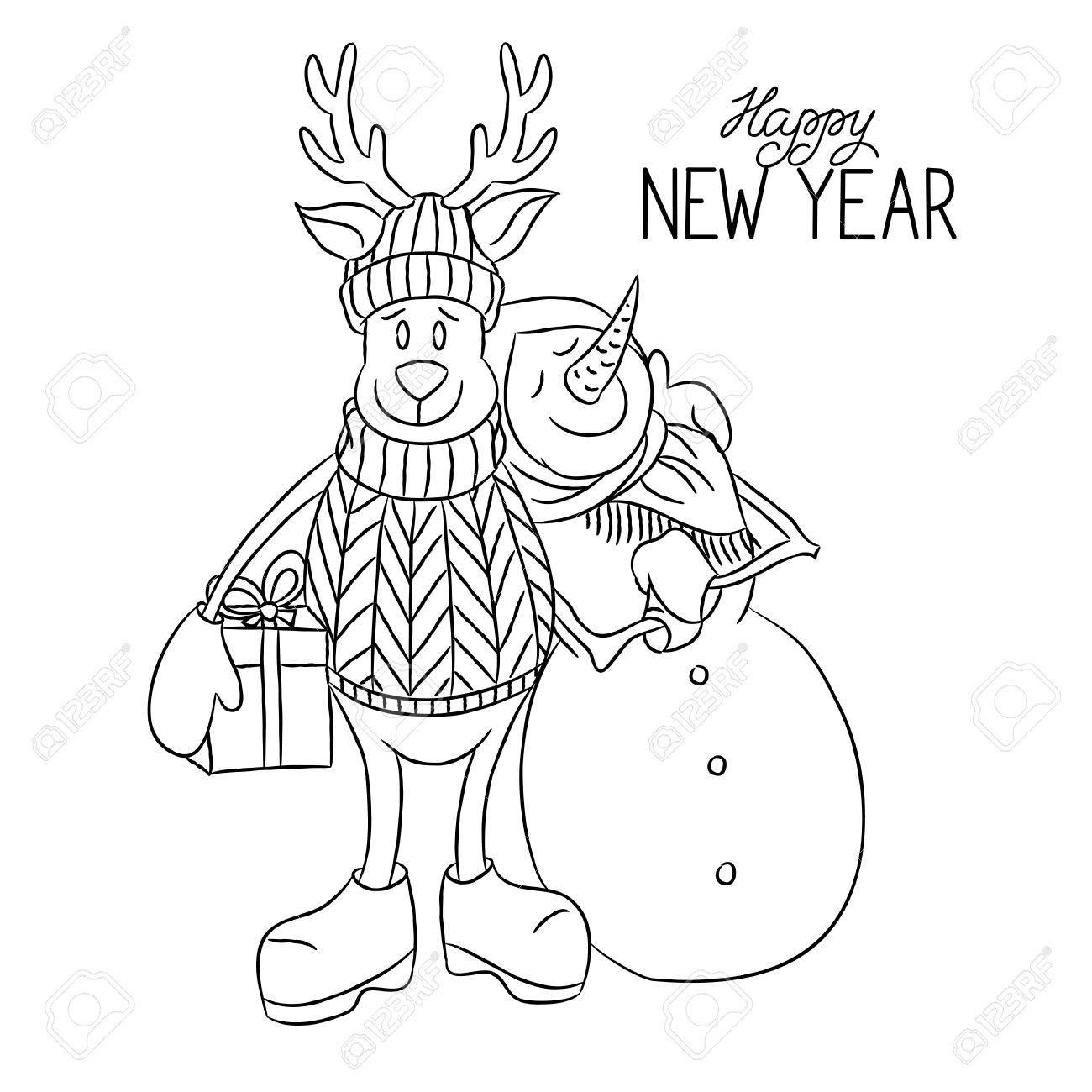 Christmas Deer Drawing At Getdrawings