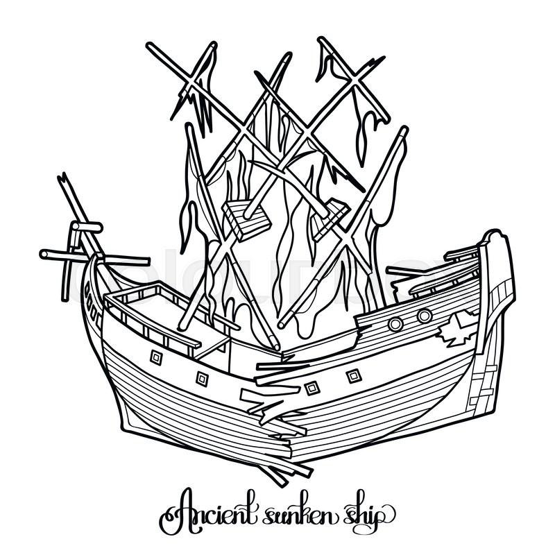 Clip Art Sunken Ship White And Black