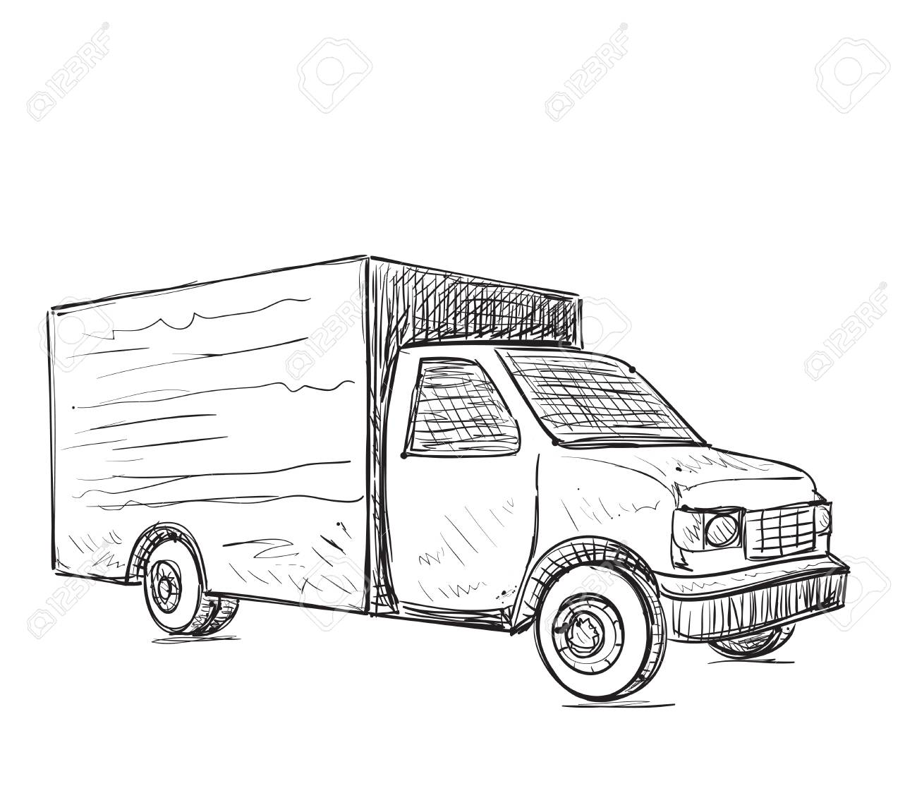 Delivery Truck Drawing At Getdrawings