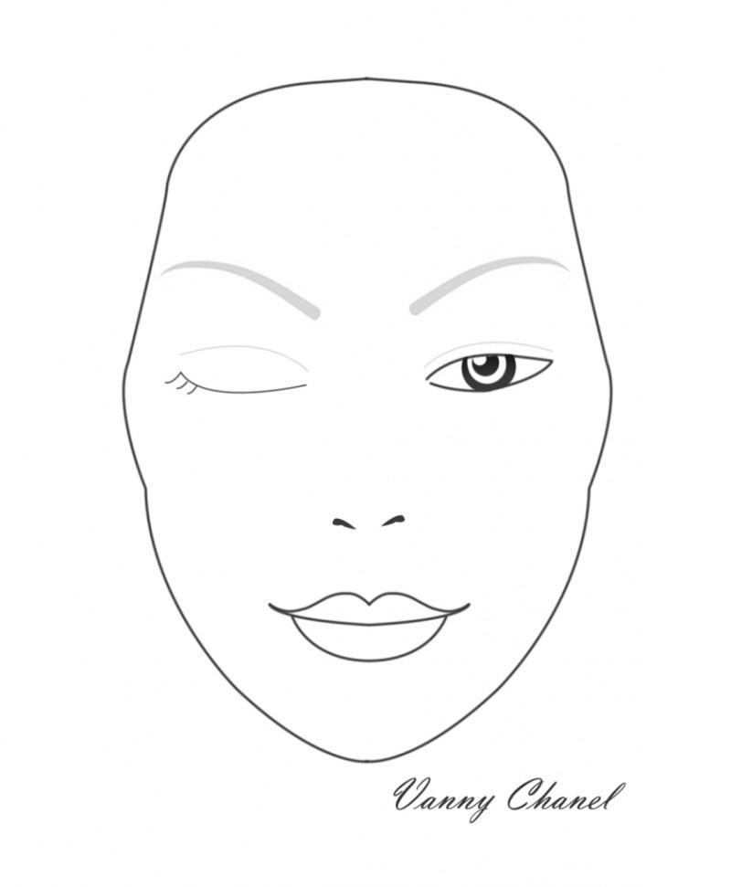 844x1024 Blank Face Makeup Mac Sketches Template