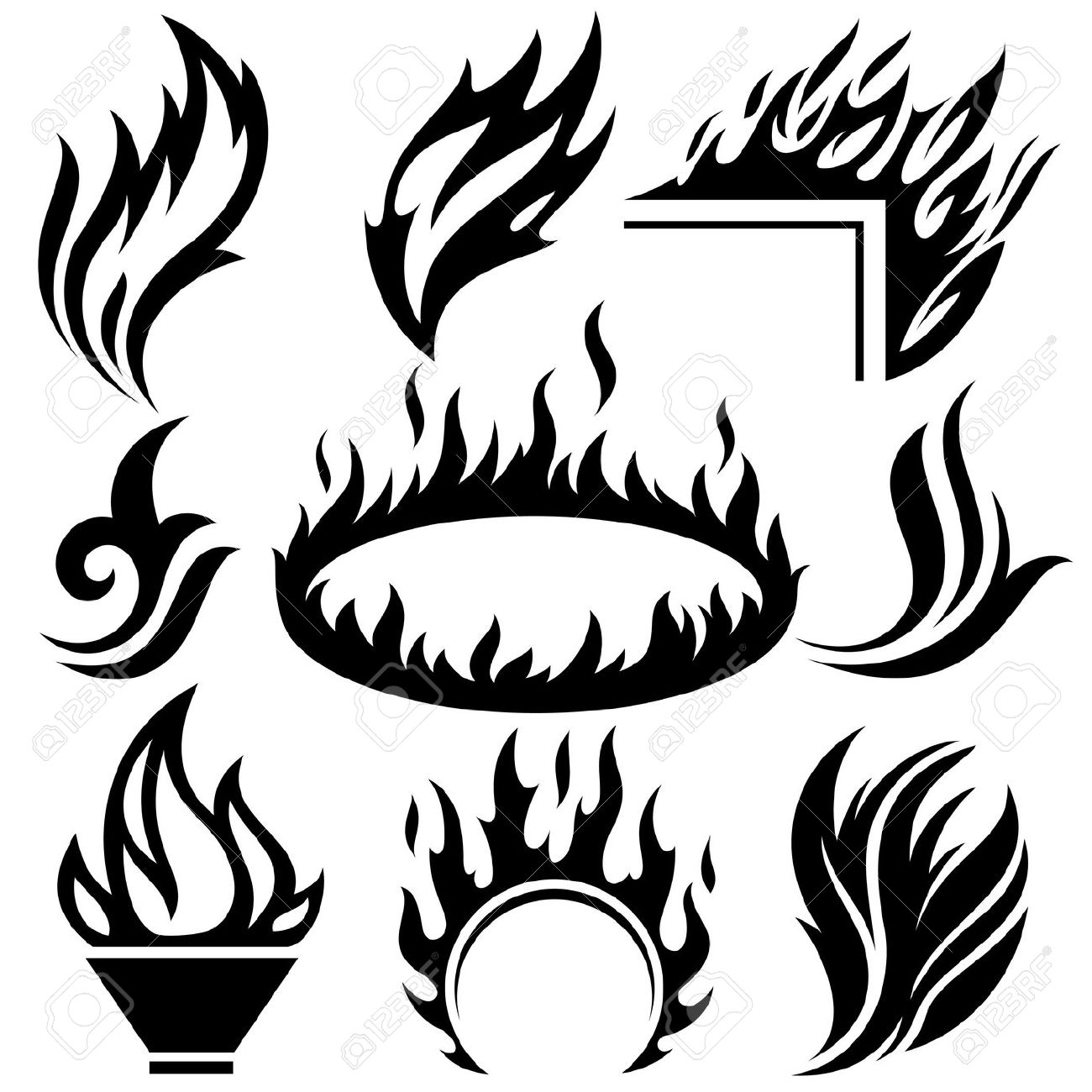 Flames Outline Drawing At Getdrawings
