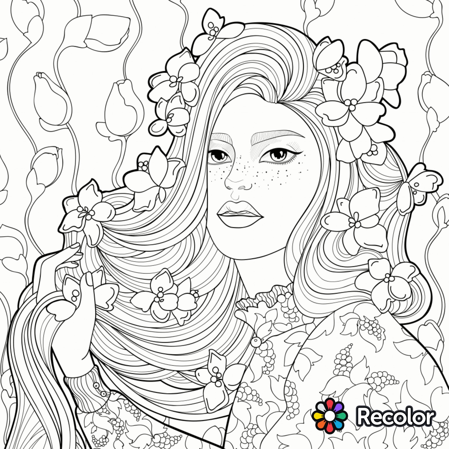 Girl With Flowers In Her Hair Drawing At Getdrawings
