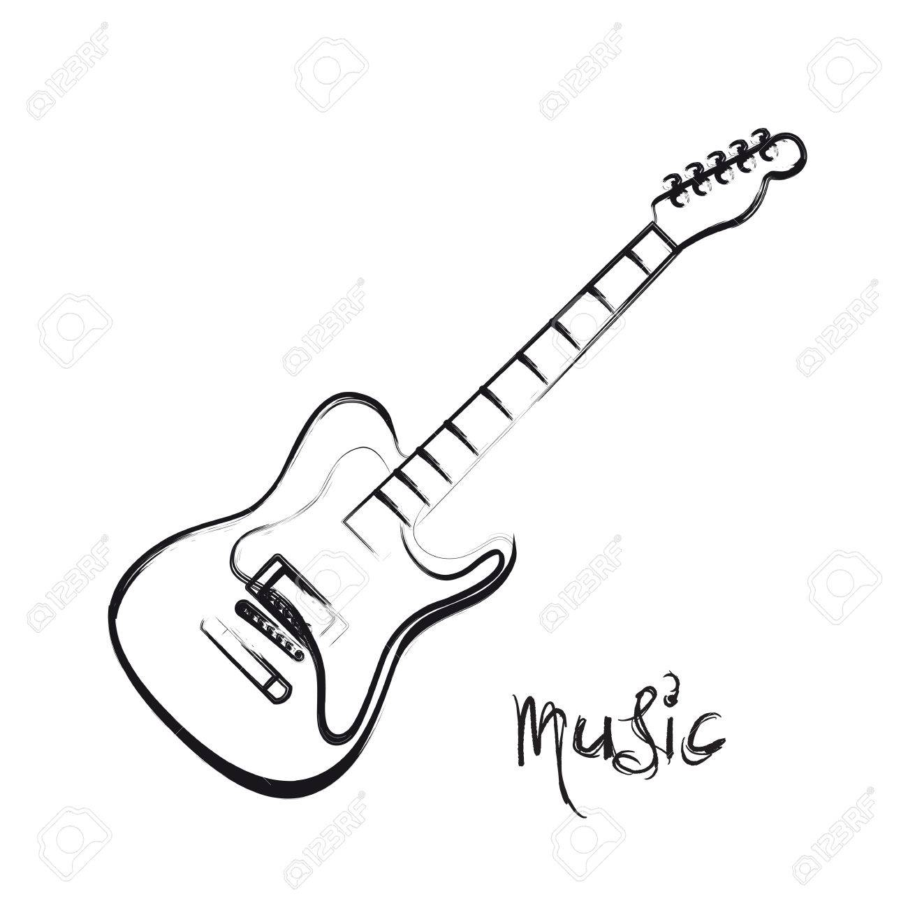 Guitar Drawing Easy At Getdrawings